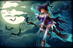 League od Angels_Blue Witch_Halloween season is far from over since it never ends for the Blue Witch. She, in her witch cosplay outfit, is ready to battle for a chance to earn some treats. Her skill Winter Storm hits everyone in the opponent's party. Fantasy World, Fantasy Art, League Of Angels, Witch Cosplay, Angels And Demons, Fantasy Illustration, Halloween Season, Angel Art, Anime