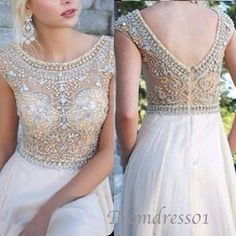 Beaded white chiffon prom dress, ball gown, custom made evening dress, wedding dress sweetheartdress.s... #promdress #coniefox #2016prom