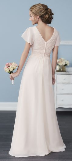 SPRING 2017 // Style 22762 | Made from chiffon and in the iconic style you love, this gown has a pleated waist and bust, with delicate butterfly sleeves. #ChristinaWuCelebration #Bridesmaids #ChristinaWu #SpringWedding