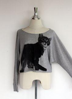 I think this is SO cute!    Sweatshirt Black Cat Sweatshirt Women Shirt Bat Wing by Tshirt99, $23.99