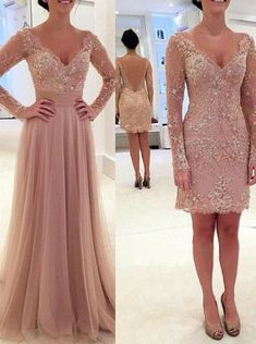 Buy Princess Long Sleeves V-neck Tulle Prom Dress with Detachable Train 2016 Prom Dresses under US$ 152.99 only in SimpleDress.