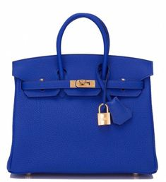 Hermes Bleu Electrique togo Birkin with gold hardware in store fresh condition with plastic on hardware. Shop authentic Hermes Birkins and Kellys at Madison Avenue Couture. Hermes Birkin, Hermes Bags, Hermes Handbags, Gucci Bags, Handbags Michael Kors, Designer Handbags, Designer Bags, Gucci Gucci, Burberry