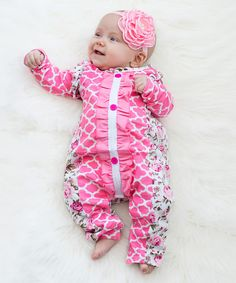 Look what I found on #zulily! Ella's Bows Pink Floral Ruffle Romper - Infant by Ella's Bows #zulilyfinds