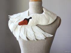 White Swan - felted wool animal scarf,bridal stole from celapiu by DaWanda.com