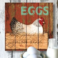 Fresh 'Eggs' Gallery-Wrapped Canvas Wall Art, Image 1 of 3 Rooster Painting, Rooster Art, Chicken Signs, Chicken Art, Arte Do Galo, Retro, Chicken Pictures, Chicken Painting, Canvas Wall Art