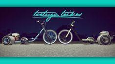 Tortuga Trikes gas powered drift trike by Tortuga Trikes — Kickstarter Gas Powered Drift Trike, Drift Trike Motorized, Drift Trike Frame, Scooter Bike, Rear Wheel Drive, Go Kart, Biking, Weights, Garage