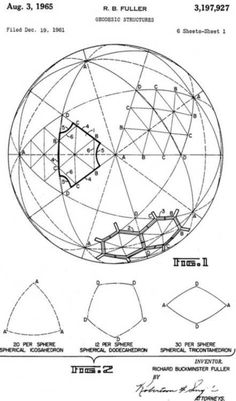 Patent drawings for geodesic domes by Buckminster Fuller.