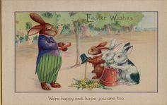 Vintage Easter Bunny Rabbit School Greetings Postcard Card Victorian #Easter