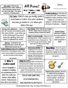 Finished with Work/early work - Now What | Printable File Folder Games, Other Fun Classroom Activities