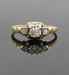 Intricate Geometric Two Tone 1940s Vintage Diamond by MSJewelers, $1245.00  Love it!  The center diamond is .37 carats, Antique Mine Cut, VVS clarity and J color.