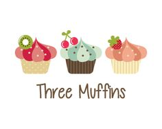 Three muffins cupcakes Logo design - Three cute muffins. key ideas: patisserie, confectionery, sweet, brown , pink ,snack, delicious, caterer, vanilla, strawberry, hot, tasty, abstract, blue, brown, cherry, leaves, cute, coffee, café, baker, sweet, three, tea, party.This logo is ideal for :bakery, cake shop, cupcake shop, food blog, confectionery, dessert catering service, patisserie shop or factory, dessert recipe site, pastry shop, yogurt shop, Cafe