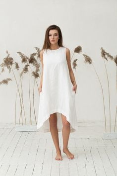 Handmade soft pure linen dress for women in off-white. Crafted from a breathable middle weight linen fabric, with a relaxed loose fit. Many ways to style it. Tight Dresses, Cute Dresses, Short Dresses, Dresses Uk, White Linen Dresses, White Dress, Dress Lace, Contemporary Dresses, Summer Dresses
