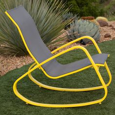 Royal Eero Aluminum Sling Seat Patio Porch Deck Rocking Chair (Yellow), Size Single, Patio Furniture