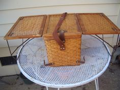 Vintage Picnic Basket Turns into a Table.  This is so cool!