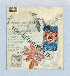 Egyptian Visa by Nick Bantock Mixed Media Journal, Ex Libris, Small Art, Egyptian, Journals, Vintage World Maps, Etsy Seller, Awesome, Creative