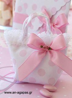 Μπομπονιέρα βάπτισης τσαντάκι ροζ πουά   ΑΝ ΑΓΑΠΑΣ