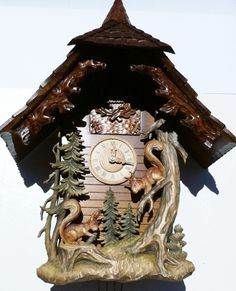 BLACK FOREST CARVED SQURRIELS CUCKOO CLOCK NEW ITEM TODAY FREE SHIPPING | eBay