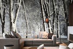 Pomysł na dekorację salonu - fototapeta z motywem tajemniczego lasu #fedkolor #fototapeta #tapeta #las #drzewa #tajemnicze #dekoracja #ozdoba #fototapetazezdjęcia #twojezdjęcia #naścianę #naścienne #wnętrza #salon #interiors #pokójdzienny #inspiracje #aranżacje #pomysły #urządzanie #diy #porady Interior S, Couch, Curtains, Artwork, Furniture, Home Decor, Diy, Image, Living Room