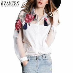 Fashion Blusas  Summer Elegant Women Blouse Flower Embroidery Vintage Shirts Organza Sleeve Tops Plus Size S-3XL Great, huh? Visit our store