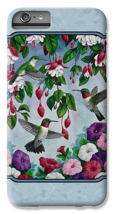 Hummingbirds and Flowers Cyan iPhone 6 Plus case by Crista Forest.  Protect your iPhone 6 Plus with an impact-resistant, slim-profile, hard-shell case.  The image gets printed directly onto the case and wrapped around the edges for a beautiful presentation.  Simply snap the case onto your iPhone 6 for instant protection and direct access to all of the phones features.