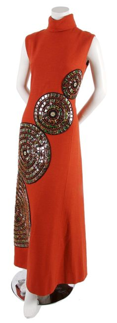 A Pablo Westerveld Burnt Orange Wool Boucle Spiral Gown, 1960s
