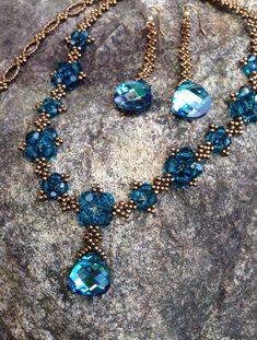 Turquoise & bronze beaded statement necklace by AmyKanarekDesigns