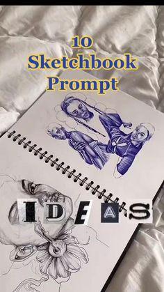 10 Sketchbook Pompt Ideas By @hellytheartist on tiktok!