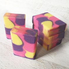 Scented in Grape Blow Pop. Color: Purple Vibrance and Lemon Drop Yellow micas by Nature Soap, Neon Tutti Frutti dye by Crafter's Choice. Tutti Frutti, Lemon, Challenge, Soap, Yellow, Purple, Nature, Color, Naturaleza