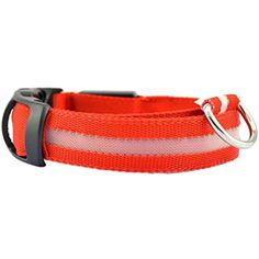 Kim88 2017 Safety Pet Collar For Lighted Up Nylon Solid LED Dog Collar Glow Necklace (L, Red) *** Read more reviews of the product by visiting the link on the image. (This is an affiliate link) #Dogs