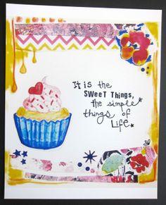 "Mixed Media Cupcake art-  8""x10"" print  $12"