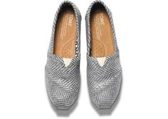 TOMS Silver Herringbone Womens Classics