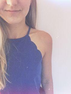 Neck-cut. Blue top