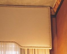Image result for cornice board with leather and nailheads