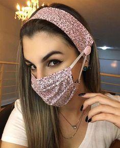 Mouth Mask Fashion, Fashion Face Mask, Easy Face Masks, Diy Face Mask, Fashion Sewing, Diy Fashion, Diy Hair Scrunchies, Crochet Mask, Diy Hair Accessories
