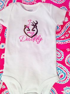 Embroidered Onesie - I Love My Daddy Browning Symbol Heart. $14.00, via Etsy.