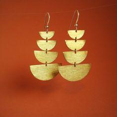 stacked moons, golden brass earrings