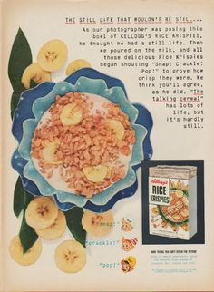 "Description: 1952 KELLOGG'S RICE KRISPIES vintage magazine advertisement ""the still life"" -- The still life that wouldn't be still ... As our photographer was posing this bowl of Kellogg's Rice Krispies, he thought he had a still life. Then we poured on the milk, and all those delicious Rice Krispies began shouting ""Snap! Crackle! Pop!"" to prove how crisp they were. We think you'll agree, as he did. ""The talking cereal"" has lots of life, but it's hardly still. -- Size: The dimensions of ..."