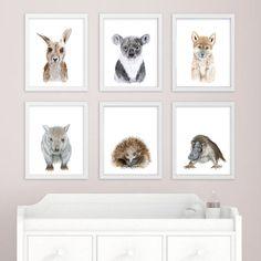 Baby Animal Art - Australian Nursery Prints - Australian Animal - Print Set - Koala, Kangaroo, Platypus, Echidna, Wombat, Dingo - Girl - Boy This Baby Animal Art is an Australian Animal print set of 6 Australian Nursery prints featuring typical beloved Australian Animals: baby koala,