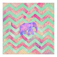 Whimsical Purple Elephant Mint Green Pink Chevron Poster