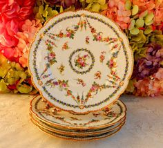 4 Gorgeous Sevres French Porcelain Hand Painted Plates ~ Floral Swags Gold Gilt #Sevres