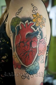 anatomical heart tattoo by Silje Hagland - http://tattoosbysilje.com - Scapegoat tattoo in Portland, OR