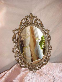 Vintage Ornate Oval Wall Mirror Italianate Brass Colored Metal 10 Inch Seller florasgarden on ebay