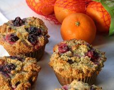 These beautiful muffins are made with season fruits -- and nuts! No flour or sugar, but still incredibly sweet and tasty. Orange Cranberry Muffins #AGPinGiving