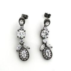 88b447e0d7252c Art Deco Inspired Mixed CZ Black Rhodium Plated Brass Drop Earrings -  10.32TCW. Artune Jewelry Online