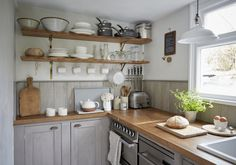 Stylish Mousehole harbour cottage, The Herringbone Loft Mousehole Small Cottage Interiors, Small Cottage Kitchen, Cottage Kitchens, Kitchen Living, Beach Cottage Style, Beach Cottage Decor, Coastal Cottage, Beach House, Rustic Cottage