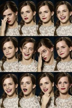 Expressions of Emma Watson* Face Drawing Reference, Human Reference, Art Reference Poses, Photo Reference, Expressions Photography, Portrait Photography, Emotions Drawing, Poses Modelo, Facial Expressions Drawing