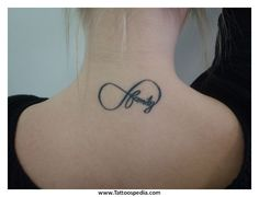Infinity Tattoo with Kids Names Infinity-Neck-Tattoo Infinity Tattoo Family, Symbol For Family Tattoo, Infinity Tattoo Designs, Infinity Tattoos, Infinity Symbol, Unendlichkeitssymbol Tattoos, Flower Tattoos, Girl Tattoos, Tattoos For Women