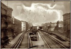 """Elevated tracks in New York circa """"Third Avenue 'L' at Houston Street. Old Pictures, Old Photos, Vintage Photographs, Vintage Photos, Shorpy Historical Photos, Houston Street, Ny Ny, City That Never Sleeps, High Resolution Photos"""