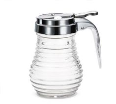 Tablecraft Beehive Syrup Dispenser - BH7 Case Pack: 12  Beehive Syrup Dispenser, 6 oz., thumb-operated, glass with chrome metal top