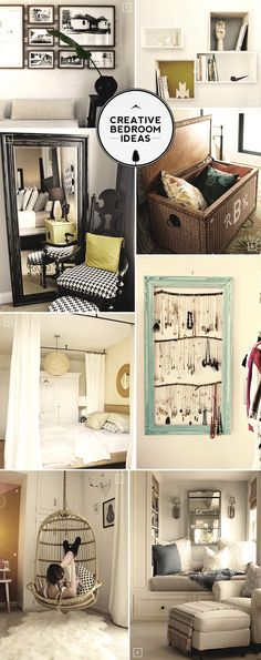 Creative bedroom ideas - reading nooks, hanging chairs, canopy beds, framed jewelry..